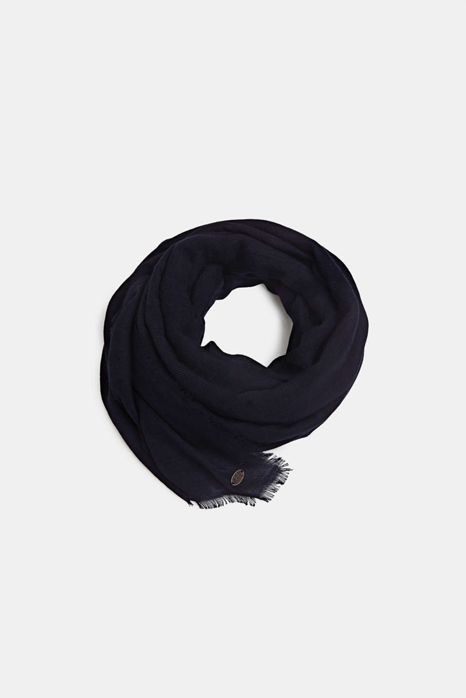 Lightweight woven scarf with a rib texture, BLACK, detail image number 0