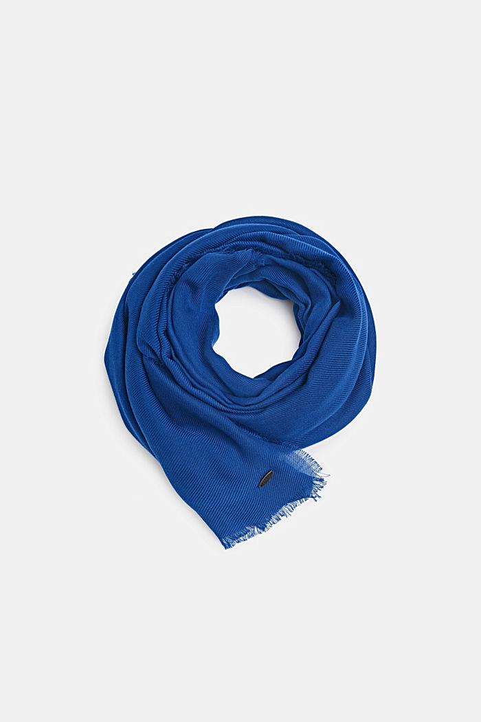 Zachte geweven sjaal met een ribstructuur, DARK BLUE, detail image number 0