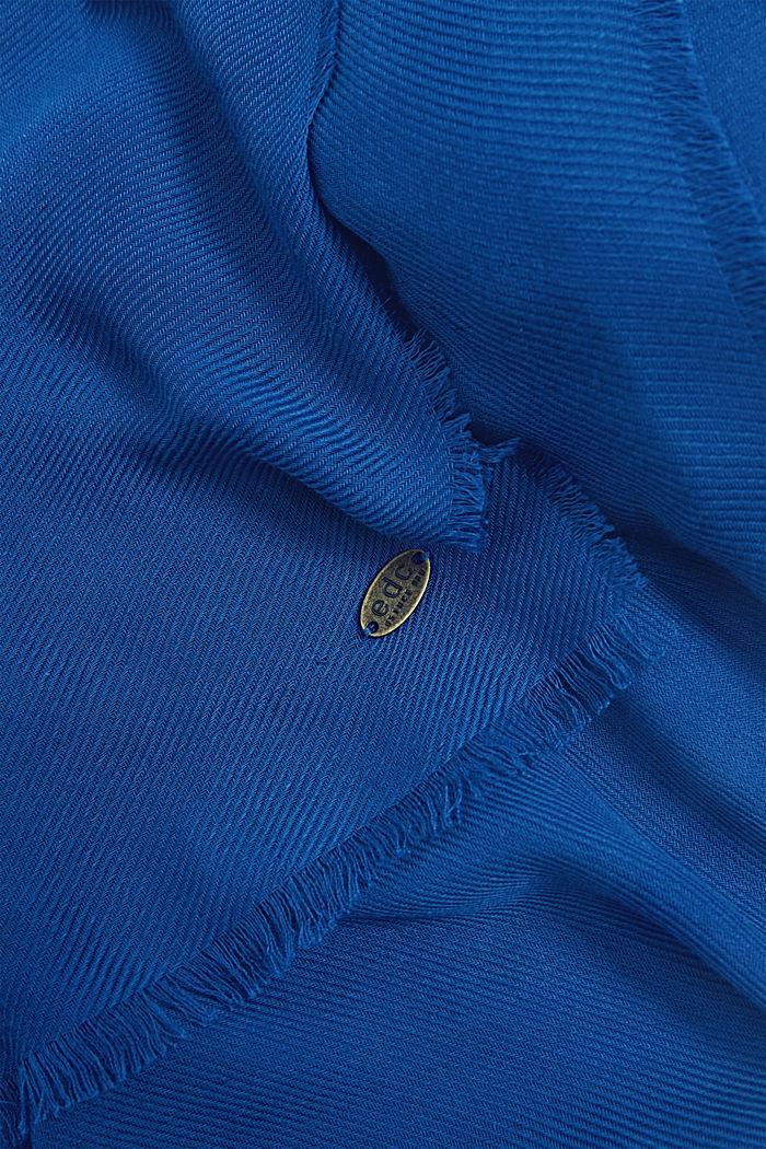 Zachte geweven sjaal met een ribstructuur, DARK BLUE, detail image number 2