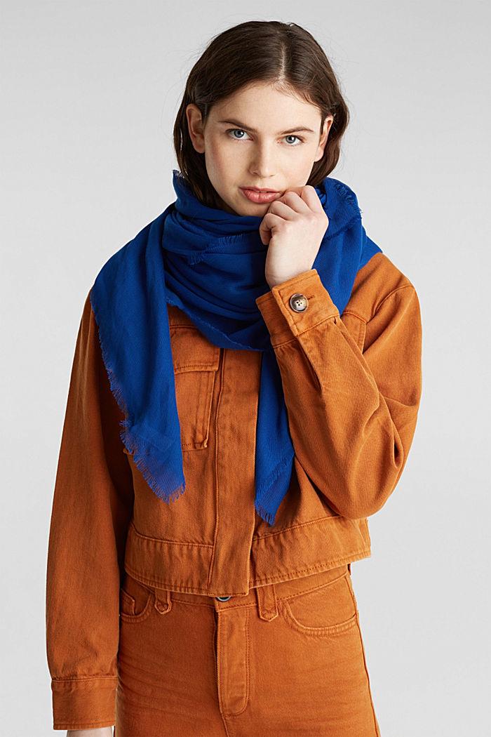 Zachte geweven sjaal met een ribstructuur, DARK BLUE, detail image number 1
