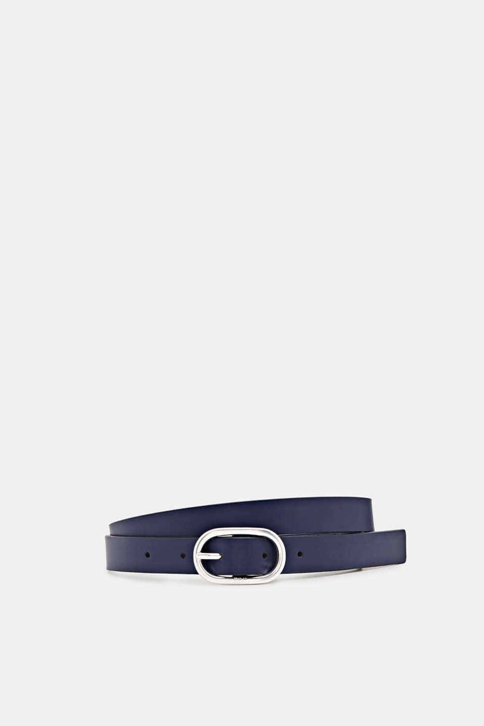 Made of leather: belt with an oval buckle, NAVY, detail image number 0