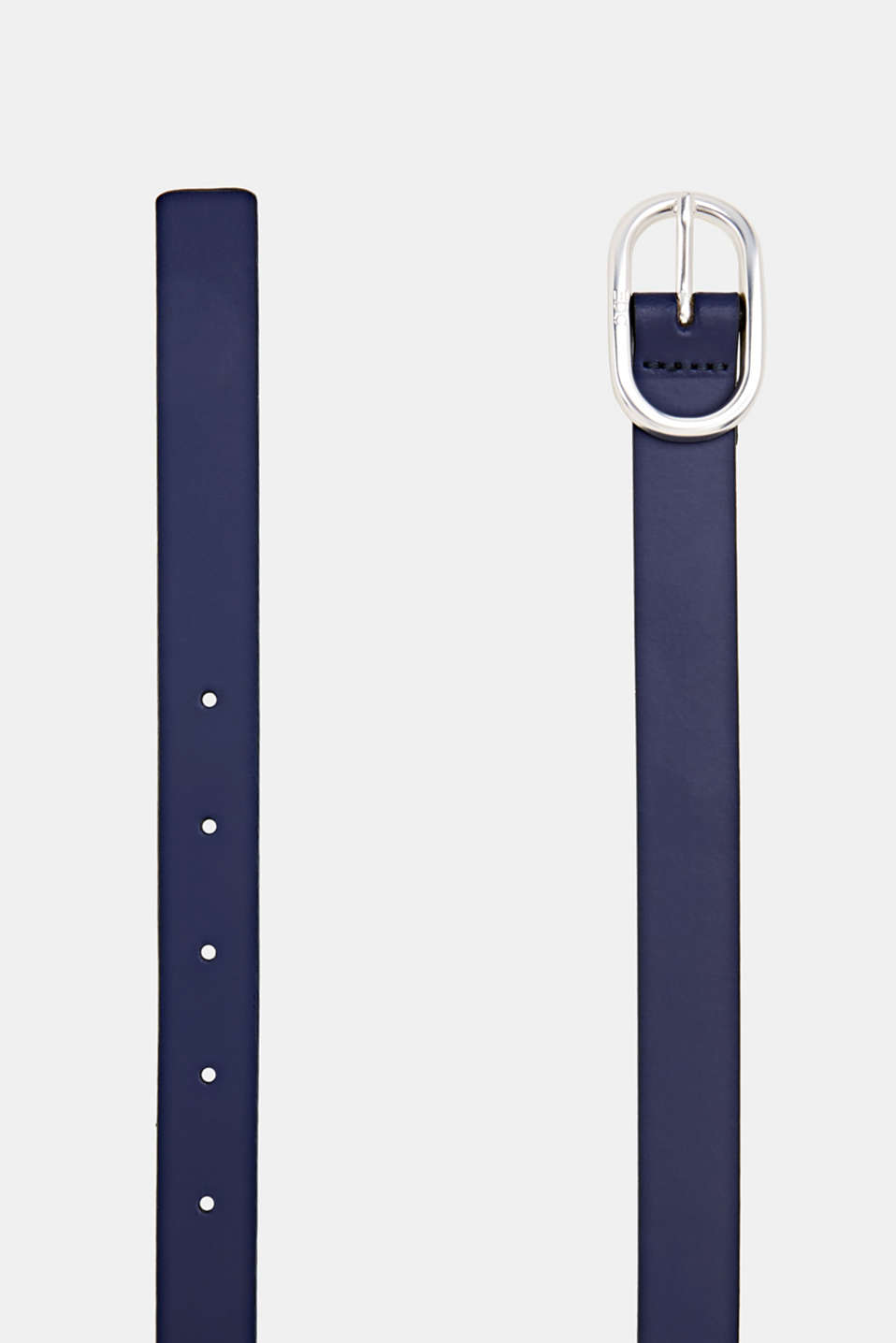 Made of leather: belt with an oval buckle, NAVY, detail image number 1