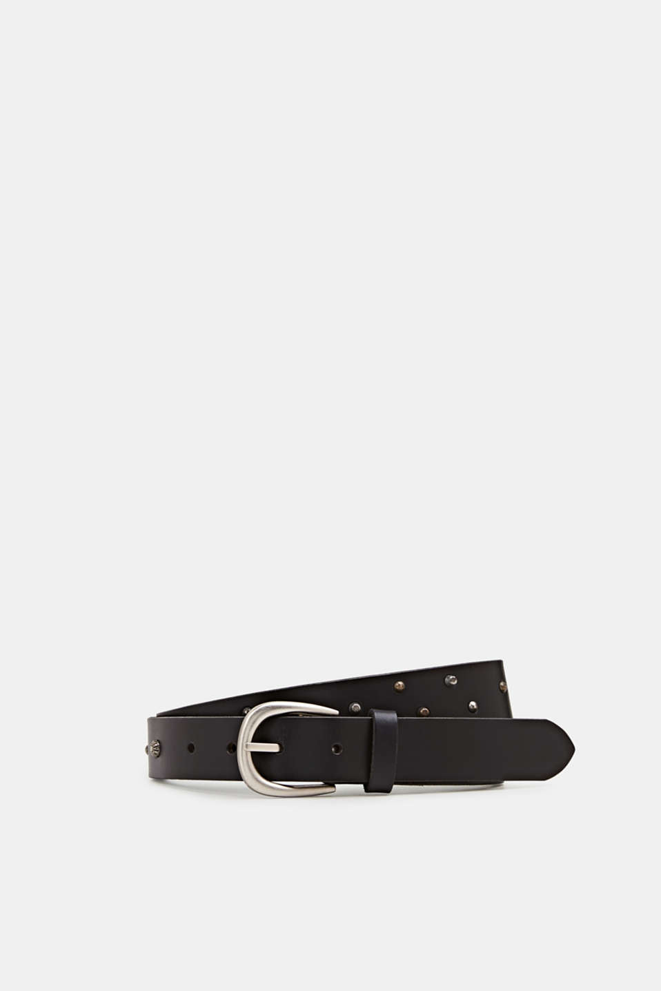 Made of leather: belt with stud decoration, BLACK, detail image number 0
