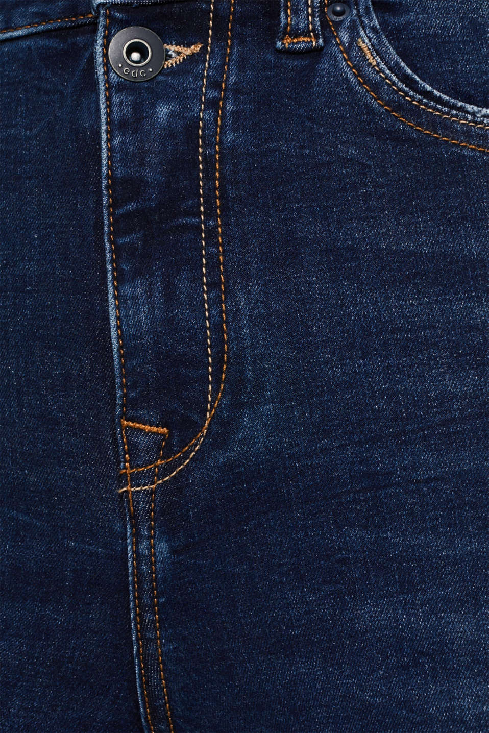 With TENCEL™: Shaping jeans in a double button design, BLUE DARK WASH, detail image number 4