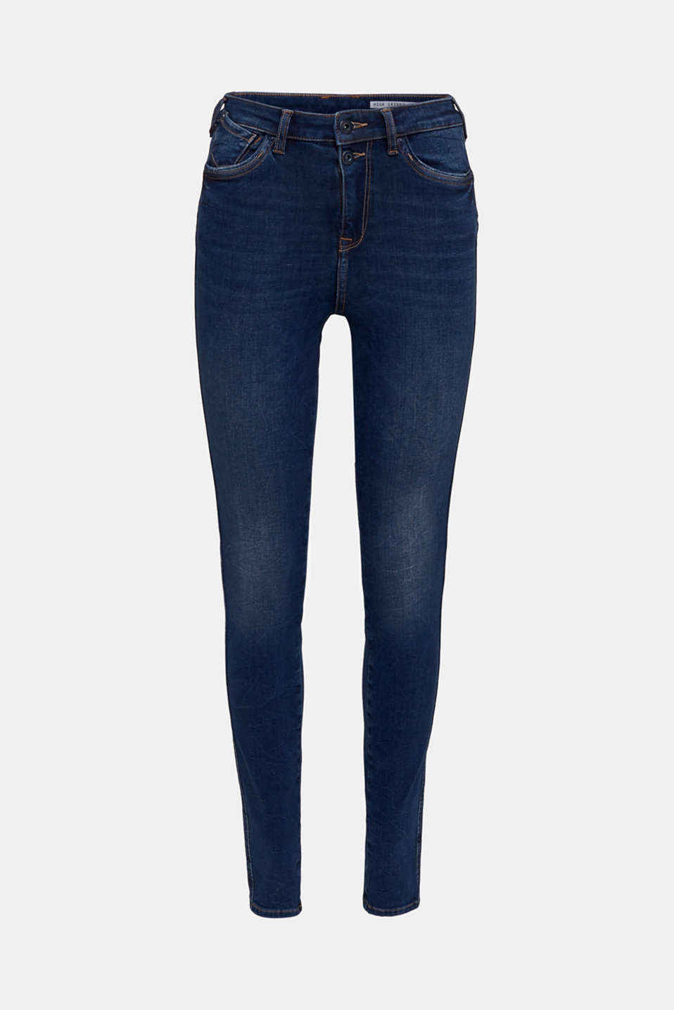 With TENCEL™: Shaping jeans in a double button design, BLUE DARK WASH, detail image number 7
