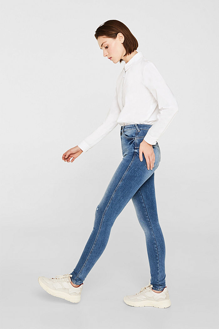 Mit TENCEL™: Shaping-Jeans mit Doppelknopf, BLUE MEDIUM WASHED, detail image number 3