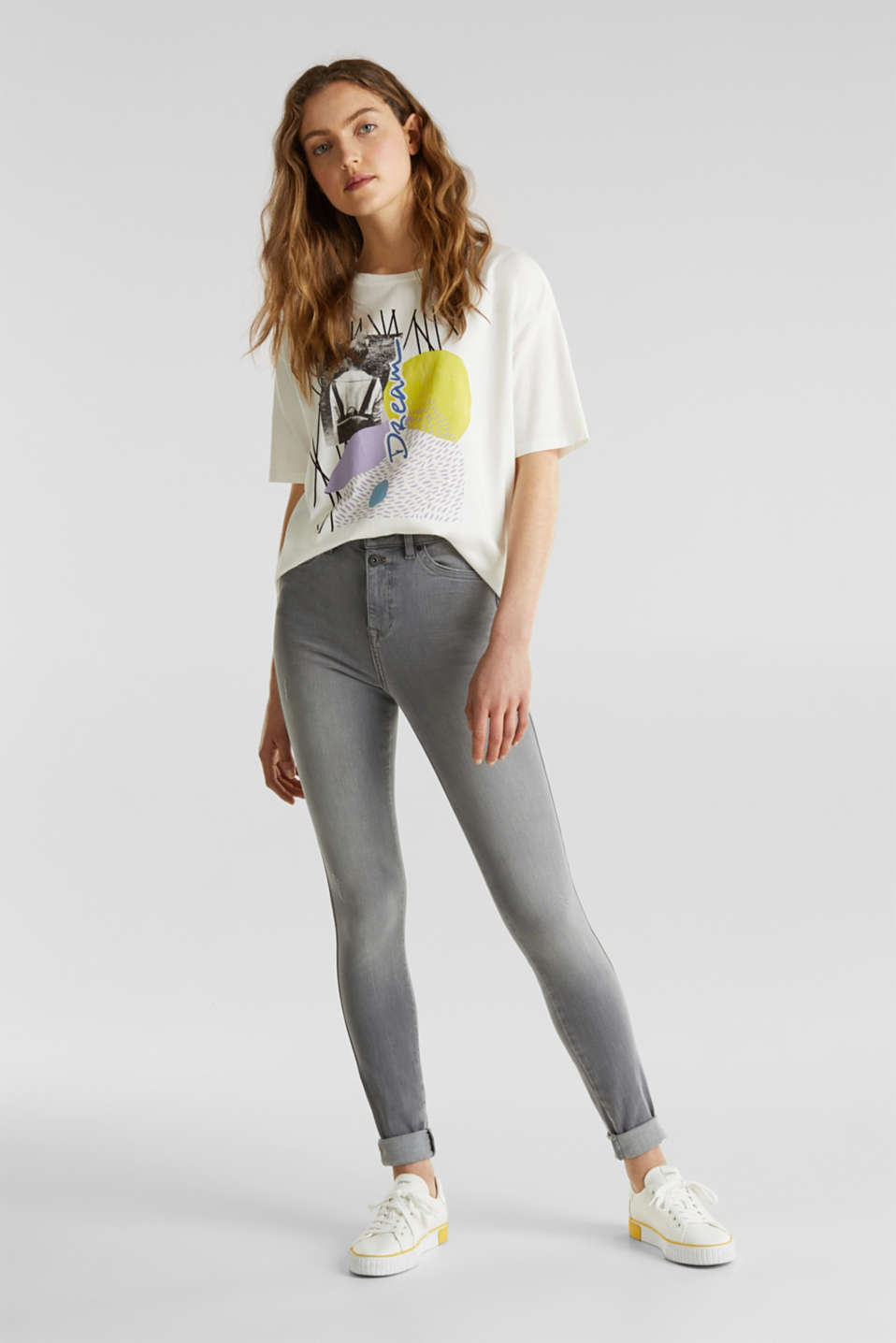 With TENCEL™: Shaping jeans with two-way stretch, GREY LIGHT WASH, detail image number 1