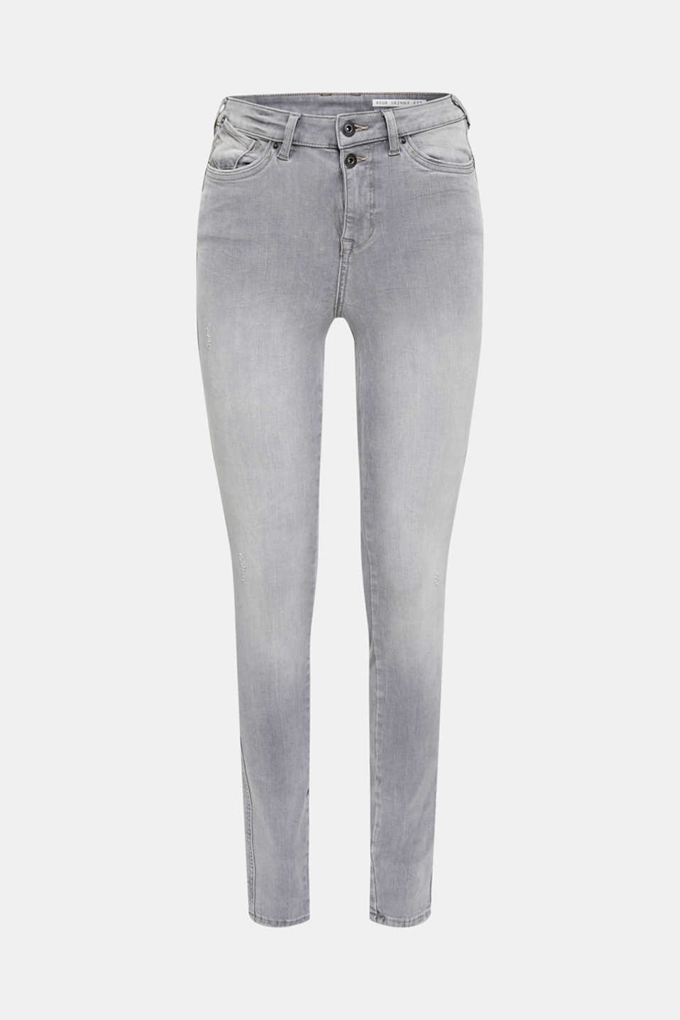 With TENCEL™: Shaping jeans with two-way stretch, GREY LIGHT WASH, detail image number 7