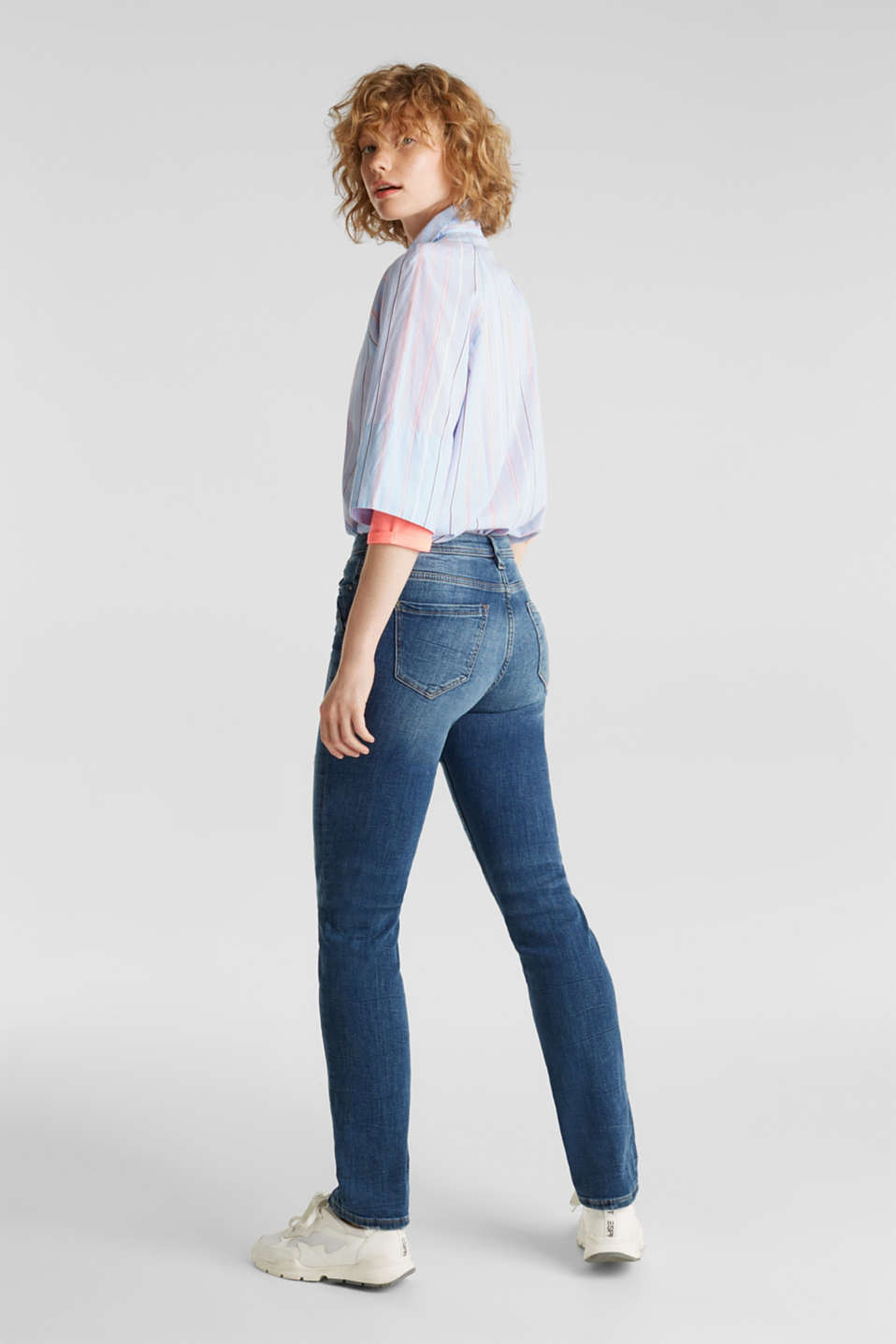 Stretch jeans with fashionable details, BLUE DARK WASH, detail image number 3