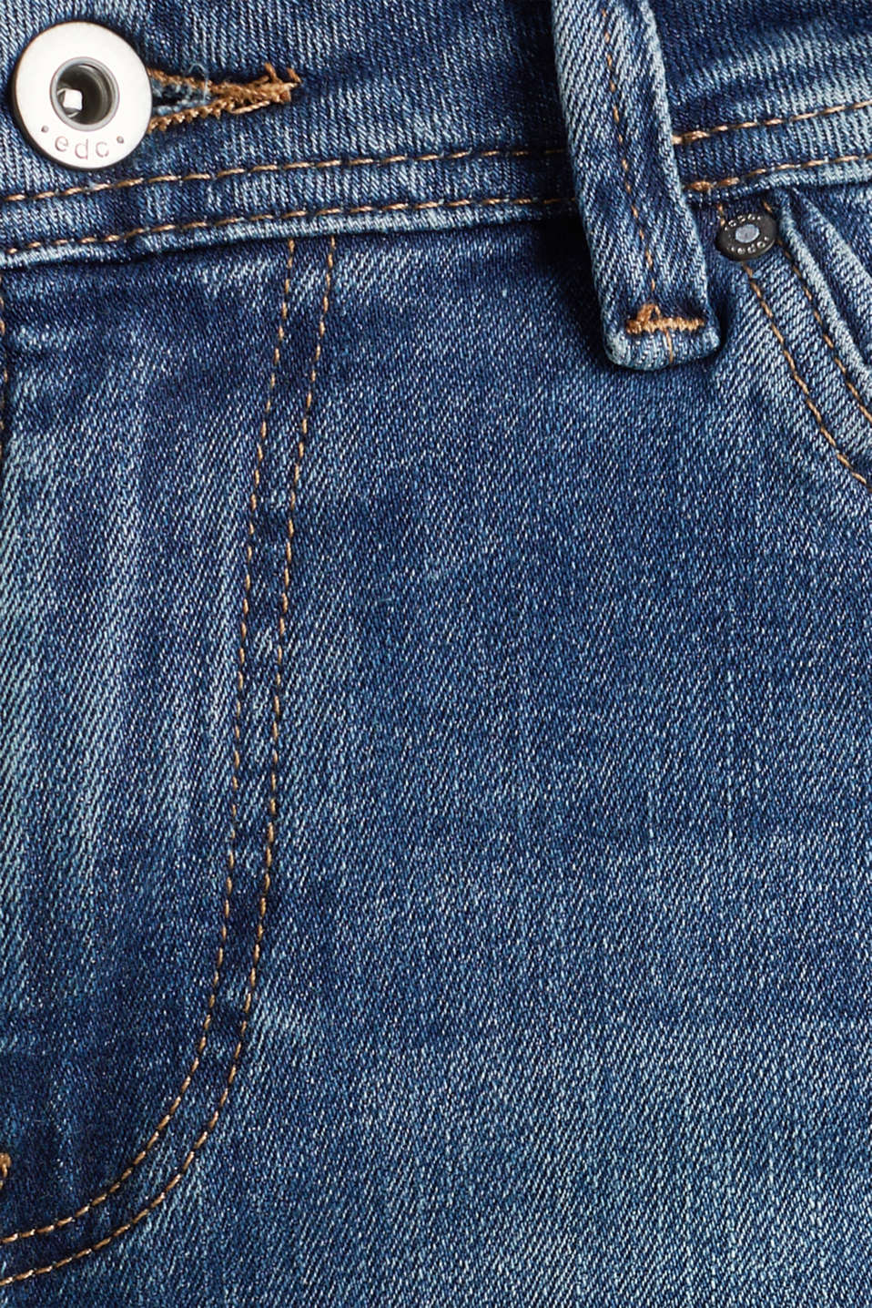Stretch jeans with fashionable details, BLUE DARK WASH, detail image number 4