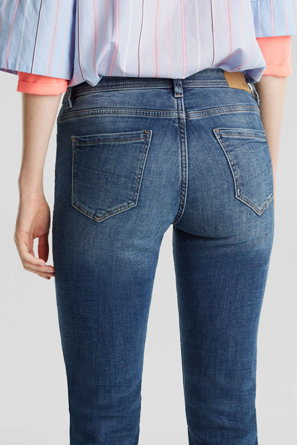 Stretch jeans with fashionable details, BLUE DARK WASH, detail image number 5