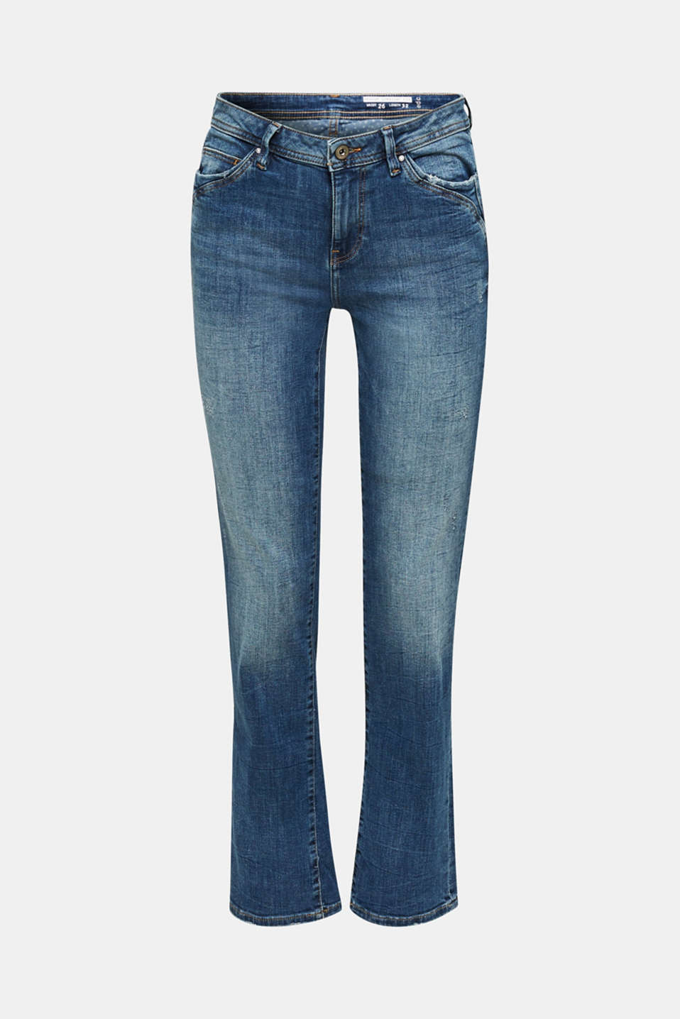Stretch jeans with fashionable details, BLUE DARK WASH, detail image number 7