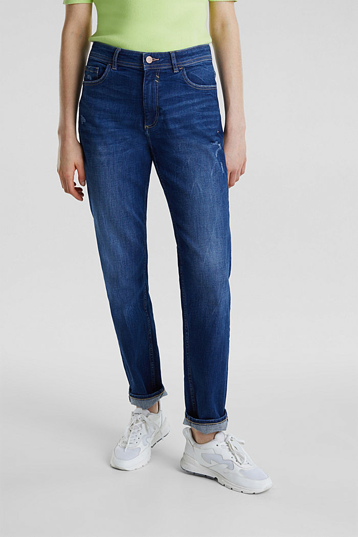 Stretch jeans with vintage effects, BLUE DARK WASHED, detail image number 6