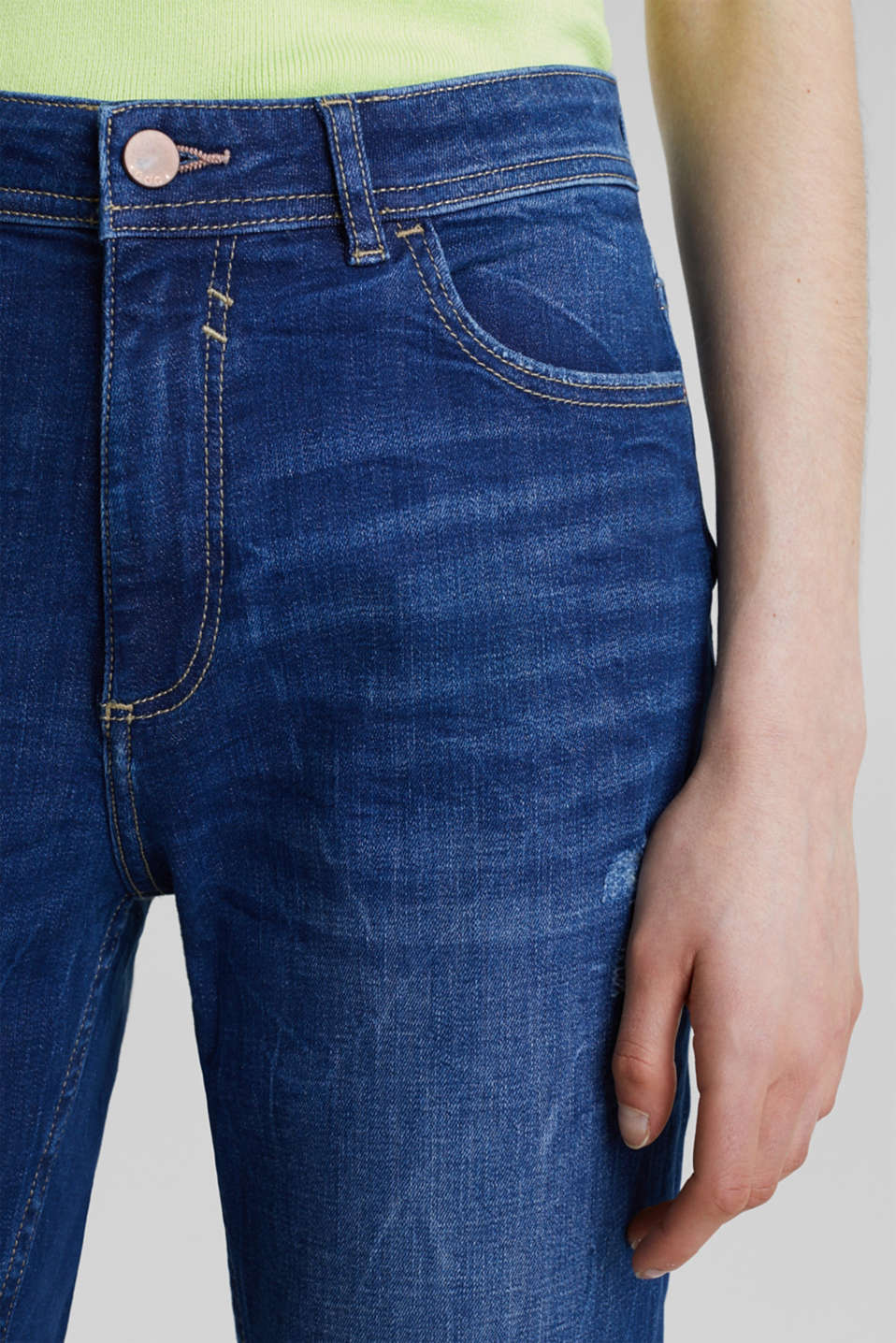Stretch jeans with vintage effects, BLUE DARK WASH, detail image number 2