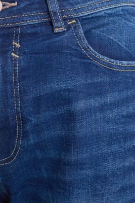 Stretch jeans with vintage effects, BLUE DARK WASH, detail