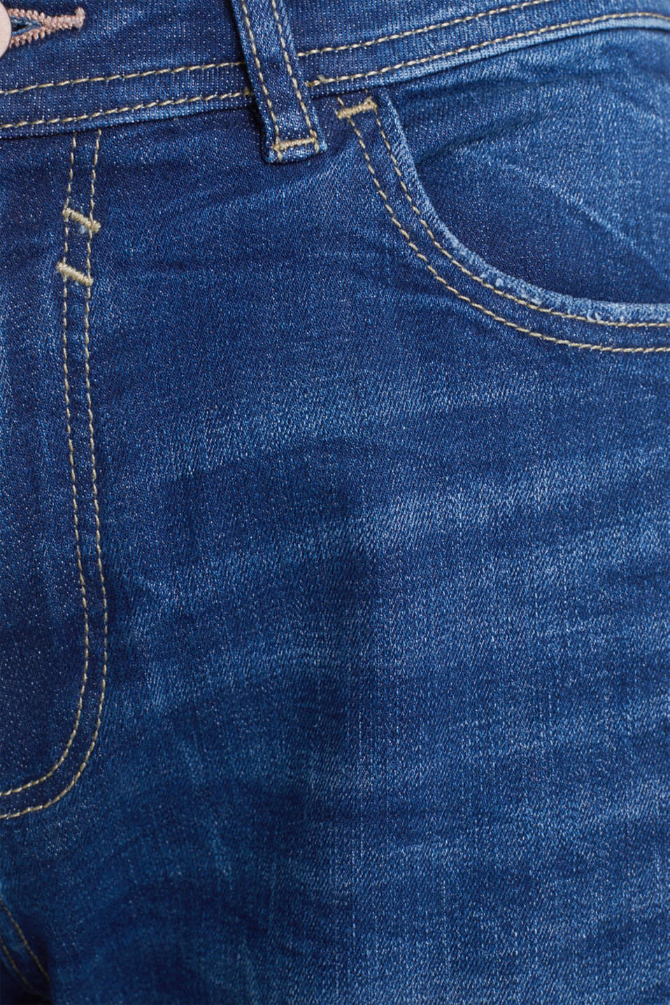 Stretch jeans with vintage effects, BLUE DARK WASH, detail image number 4