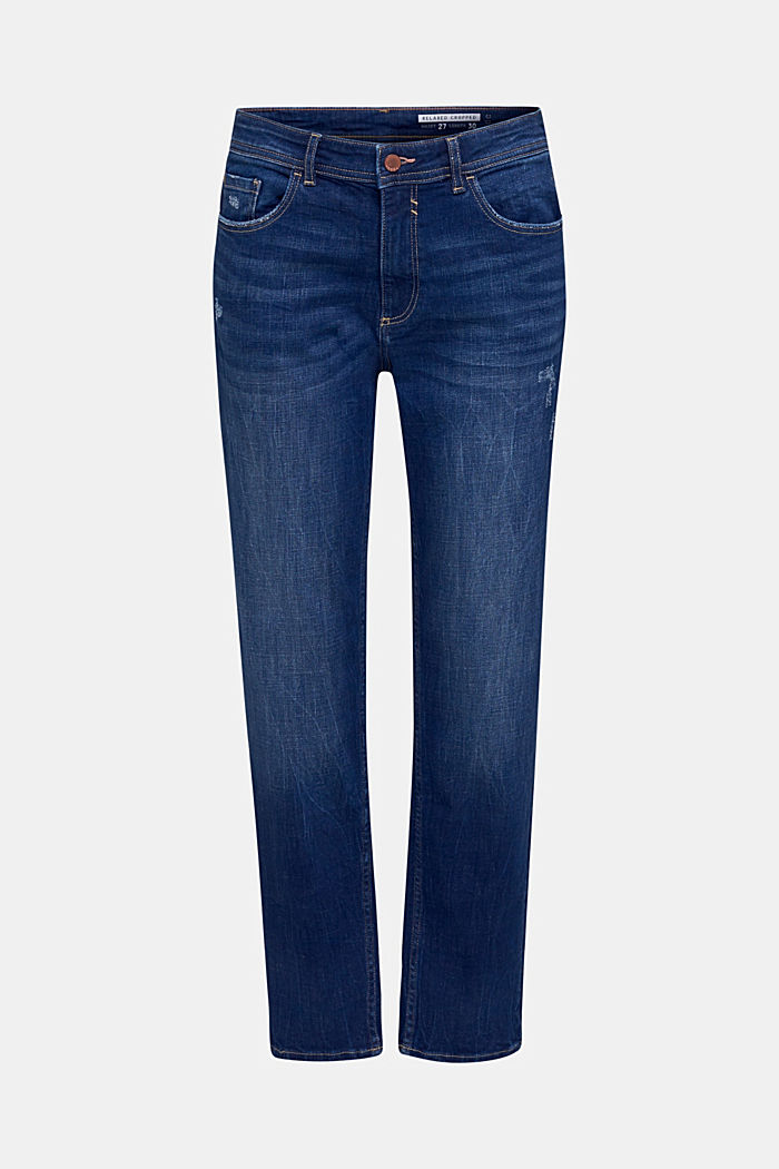 Stretch jeans with vintage effects, BLUE DARK WASHED, detail image number 7