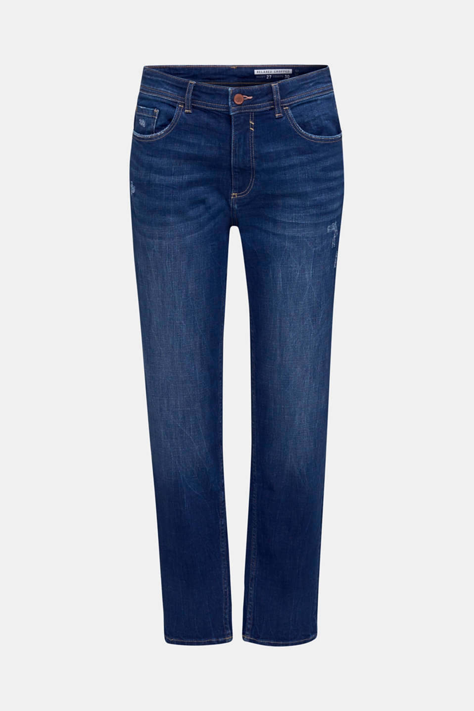 Stretch jeans with vintage effects, BLUE DARK WASH, detail image number 7
