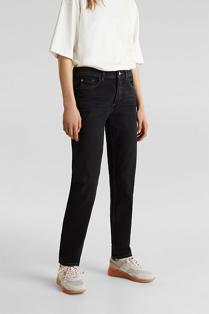 Stretch jeans with a new, relaxed fit, BLACK DARK WASHED, detail image number 6
