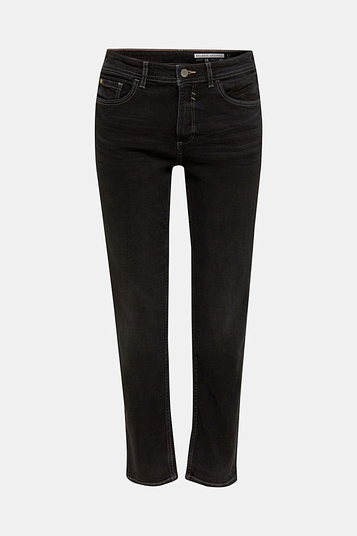 Stretch jeans with a new, relaxed fit, BLACK DARK WASHED, detail image number 7