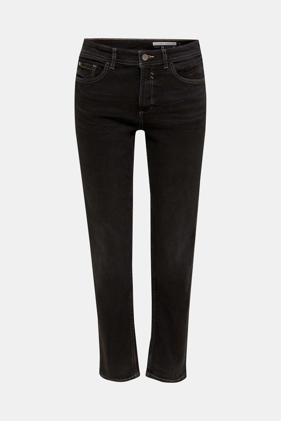 Stretch jeans with a new, relaxed fit, BLACK DARK WASH, detail image number 7