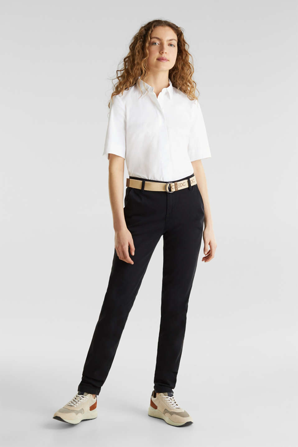 Stretch chinos made of twill with a woven belt, BLACK, detail image number 0