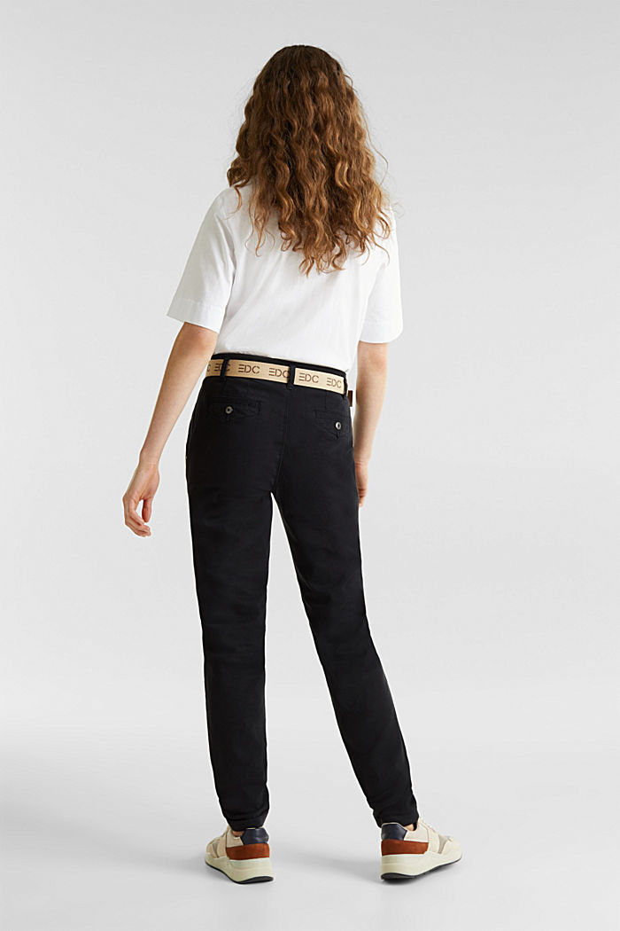 Stretch chinos made of twill with a woven belt, BLACK, detail image number 3