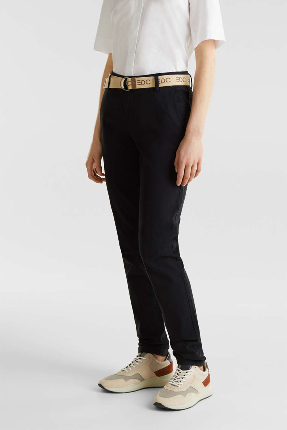 Stretch chinos made of twill with a woven belt, BLACK, detail image number 6