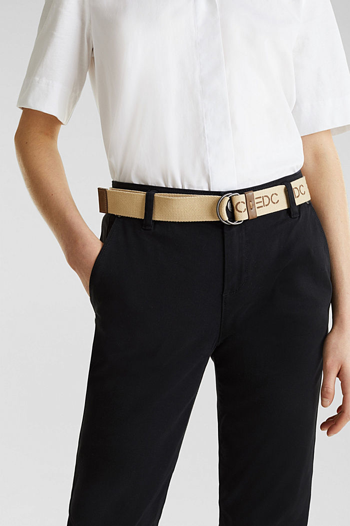 Stretch chinos made of twill with a woven belt, BLACK, detail image number 2