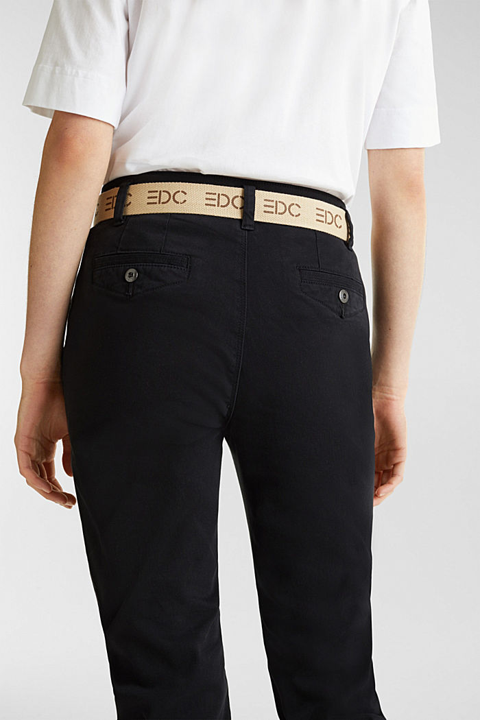 Stretch chinos made of twill with a woven belt, BLACK, detail image number 5