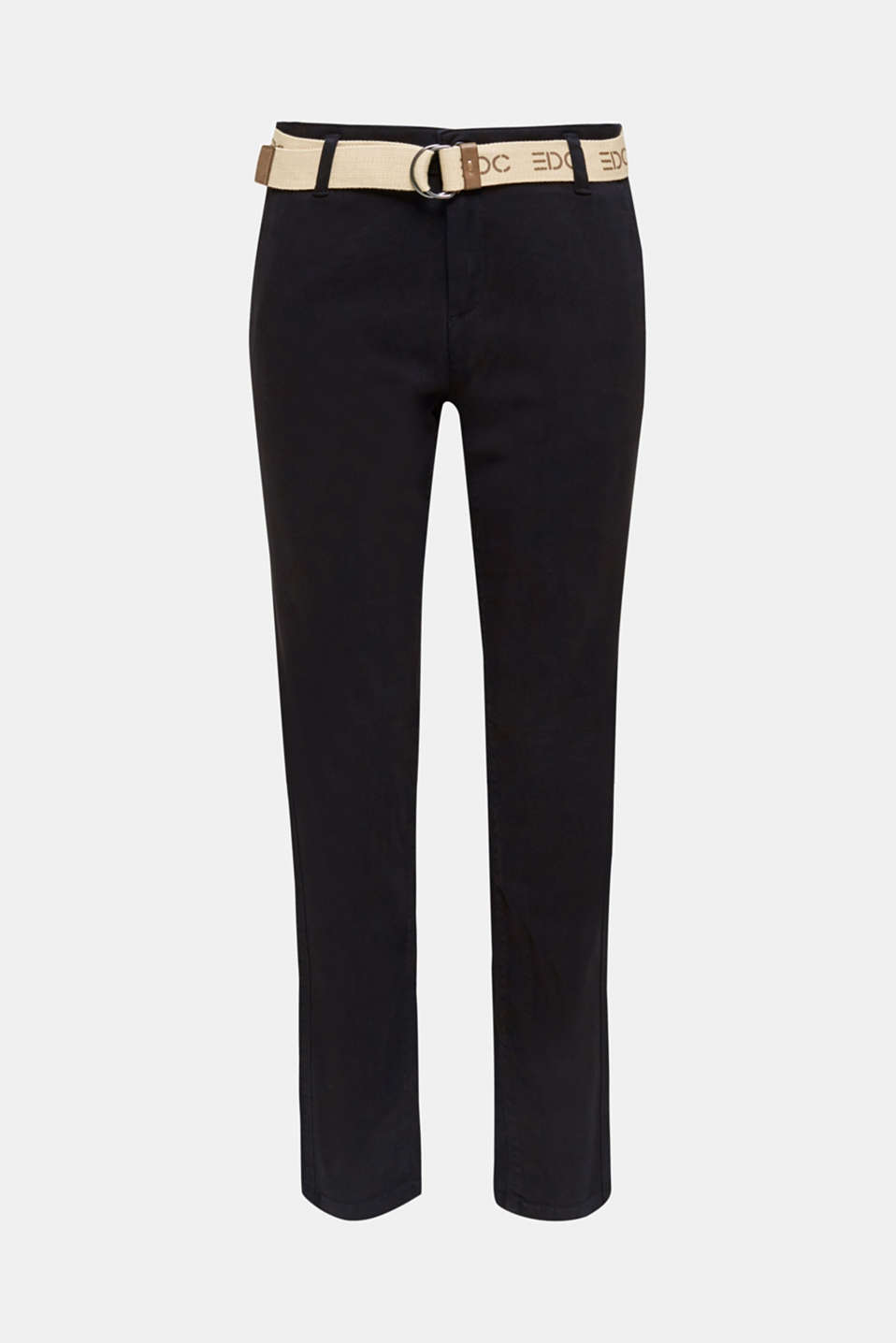 Stretch chinos made of twill with a woven belt, BLACK, detail image number 7
