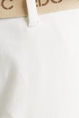 Stretch chinos made of twill with a woven belt, WHITE, detail