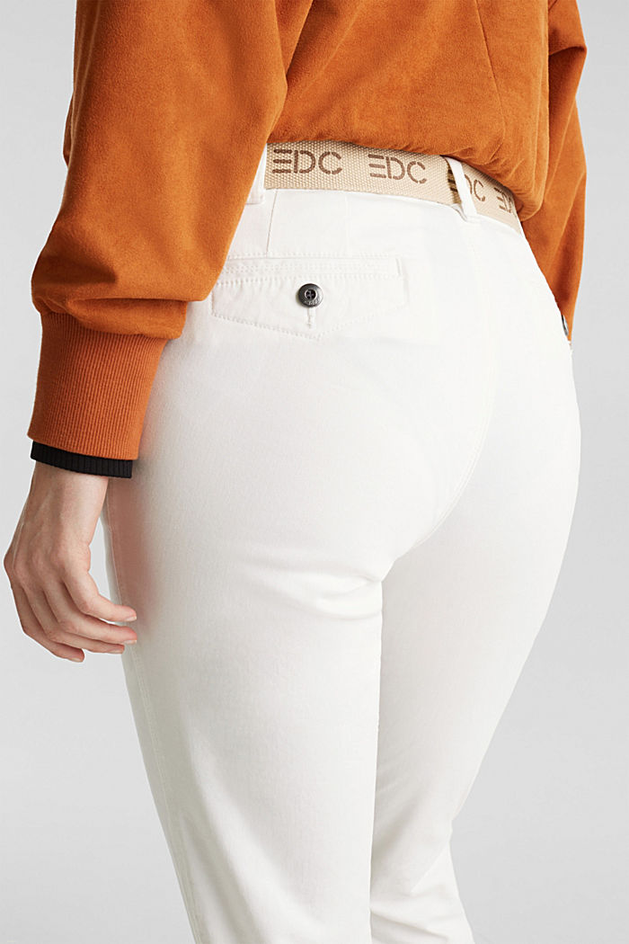 Stretch-Chino aus Twill mit Web-Gürtel, WHITE, detail image number 5