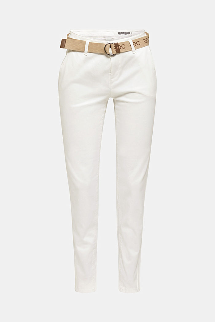 Stretch-Chino aus Twill mit Web-Gürtel, WHITE, overview