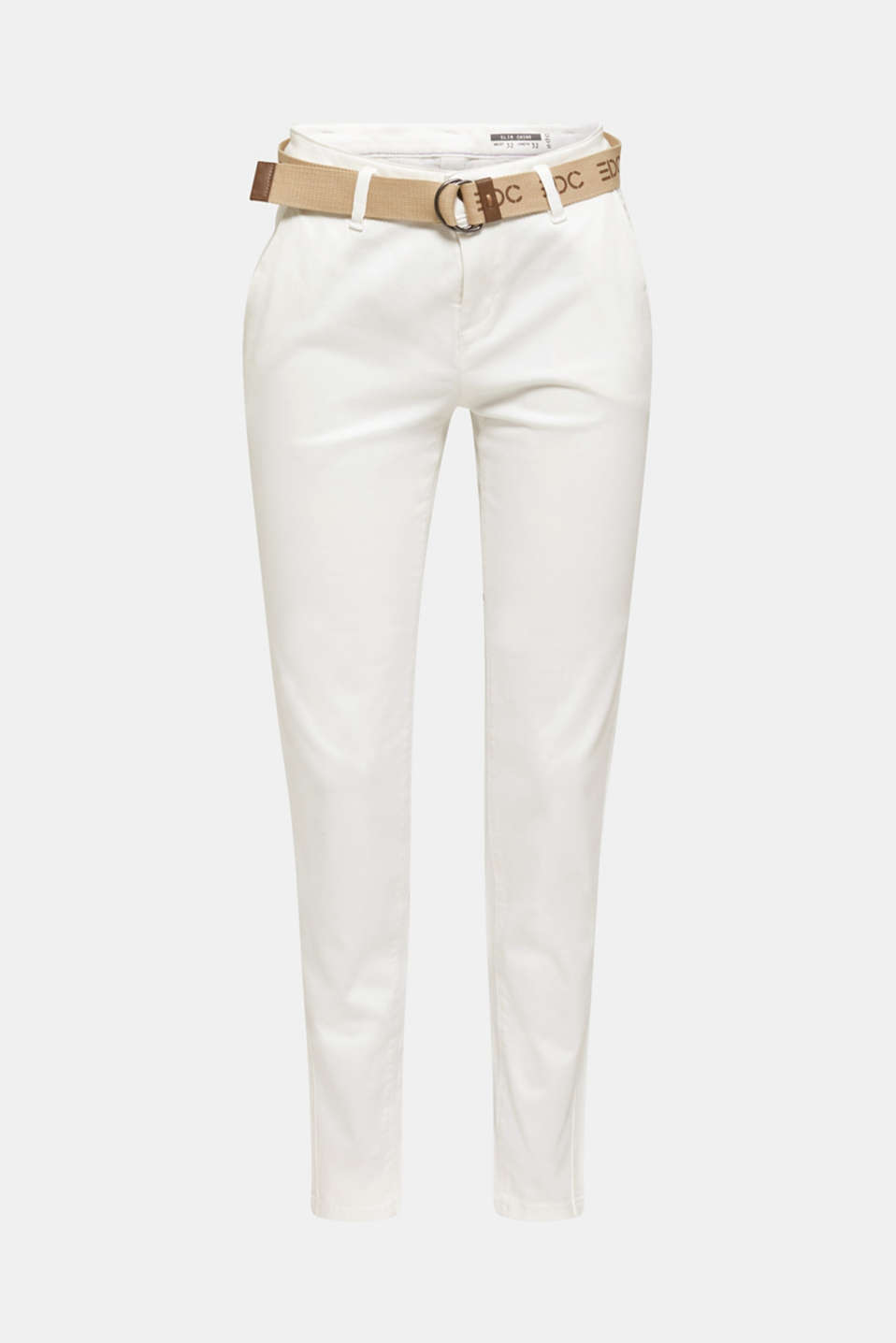 Stretch chinos made of twill with a woven belt, WHITE, detail image number 7