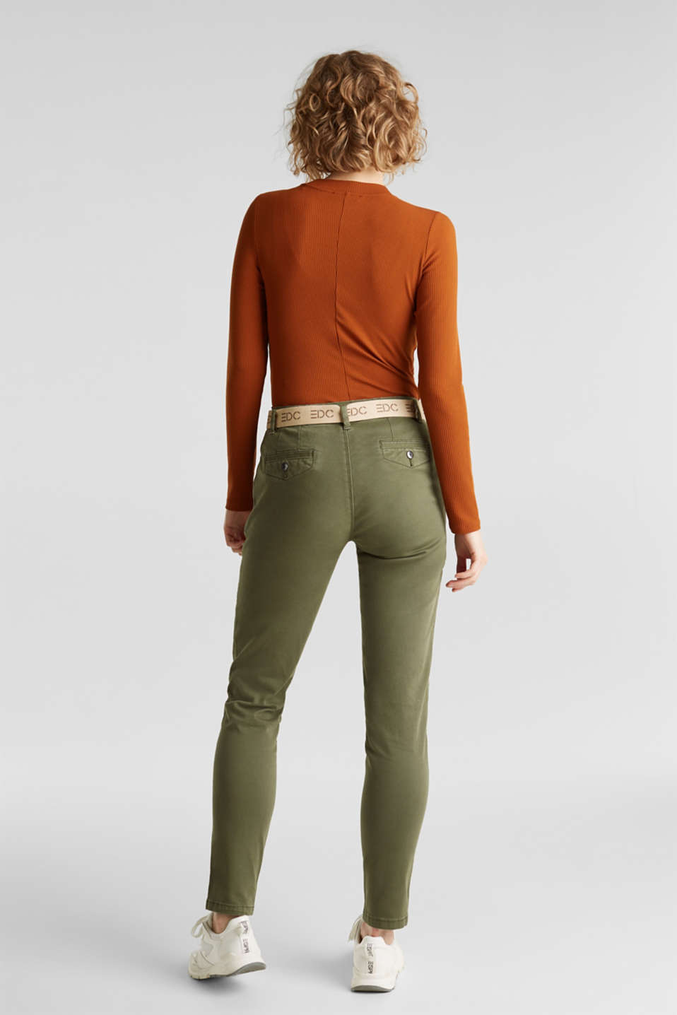Stretch chinos made of twill with a woven belt, KHAKI GREEN, detail image number 3