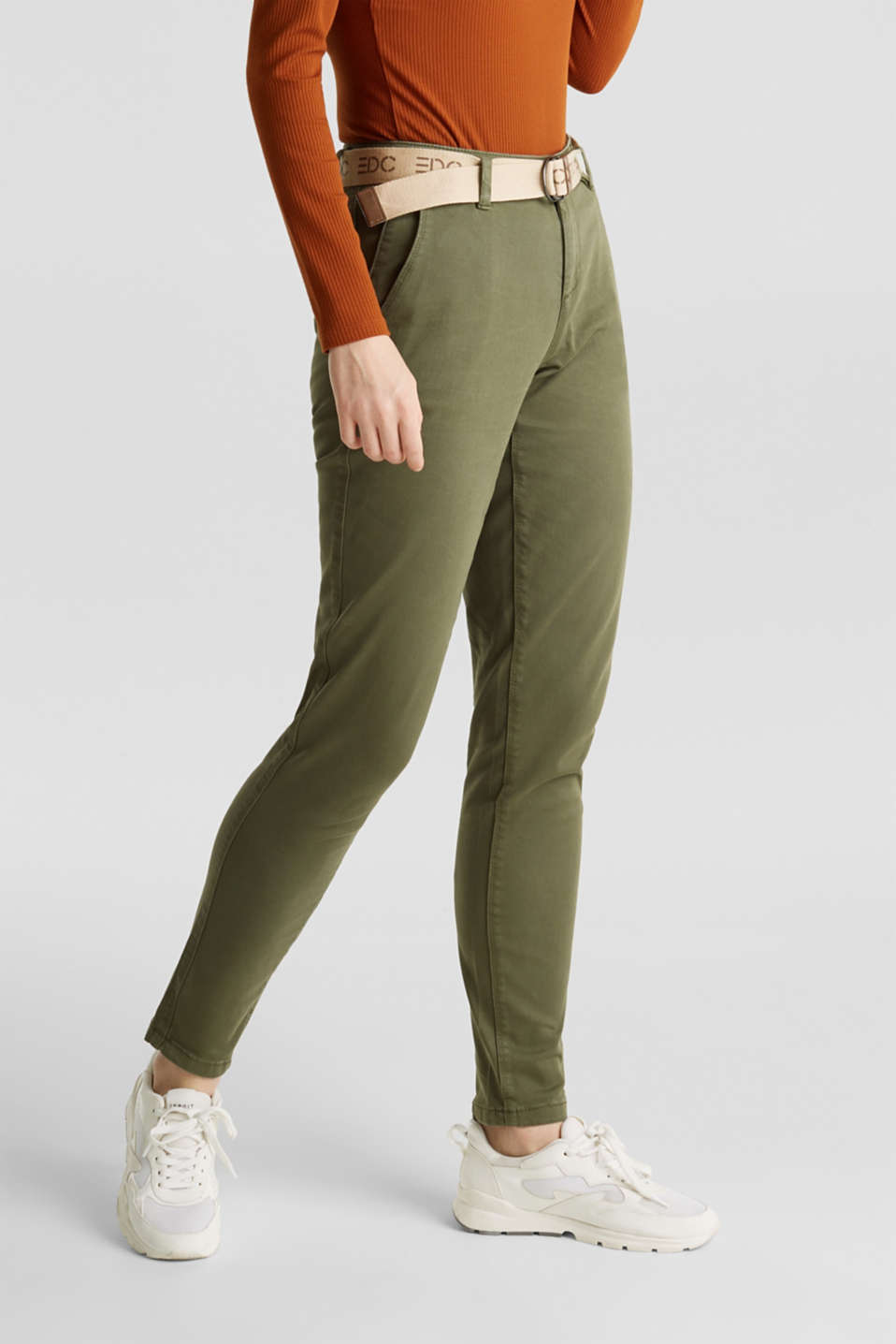 Stretch chinos made of twill with a woven belt, KHAKI GREEN, detail image number 6