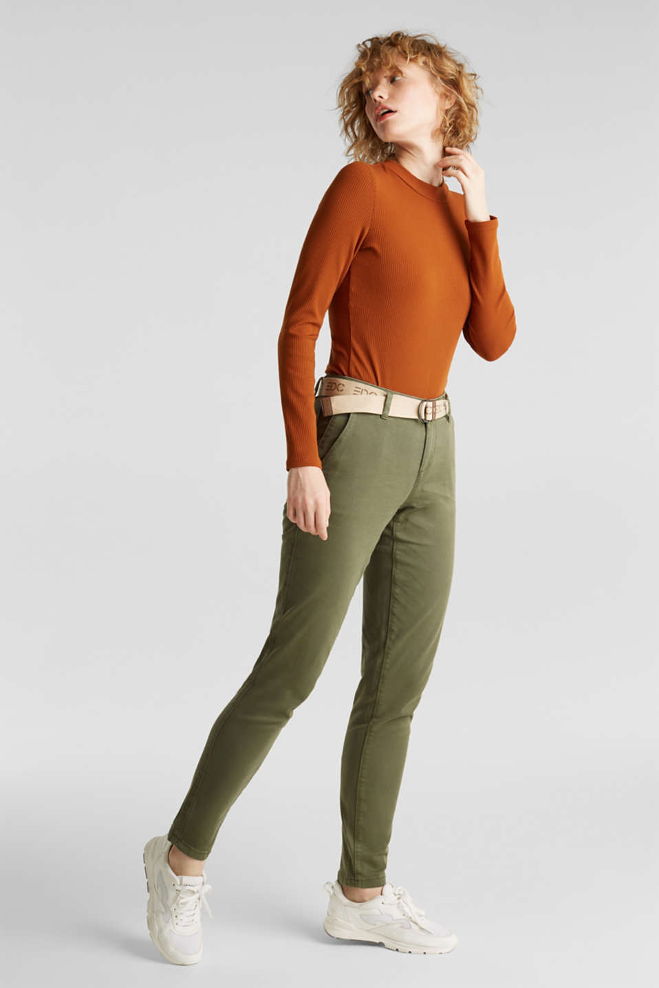 Stretch chinos made of twill with a woven belt, KHAKI GREEN, detail image number 1