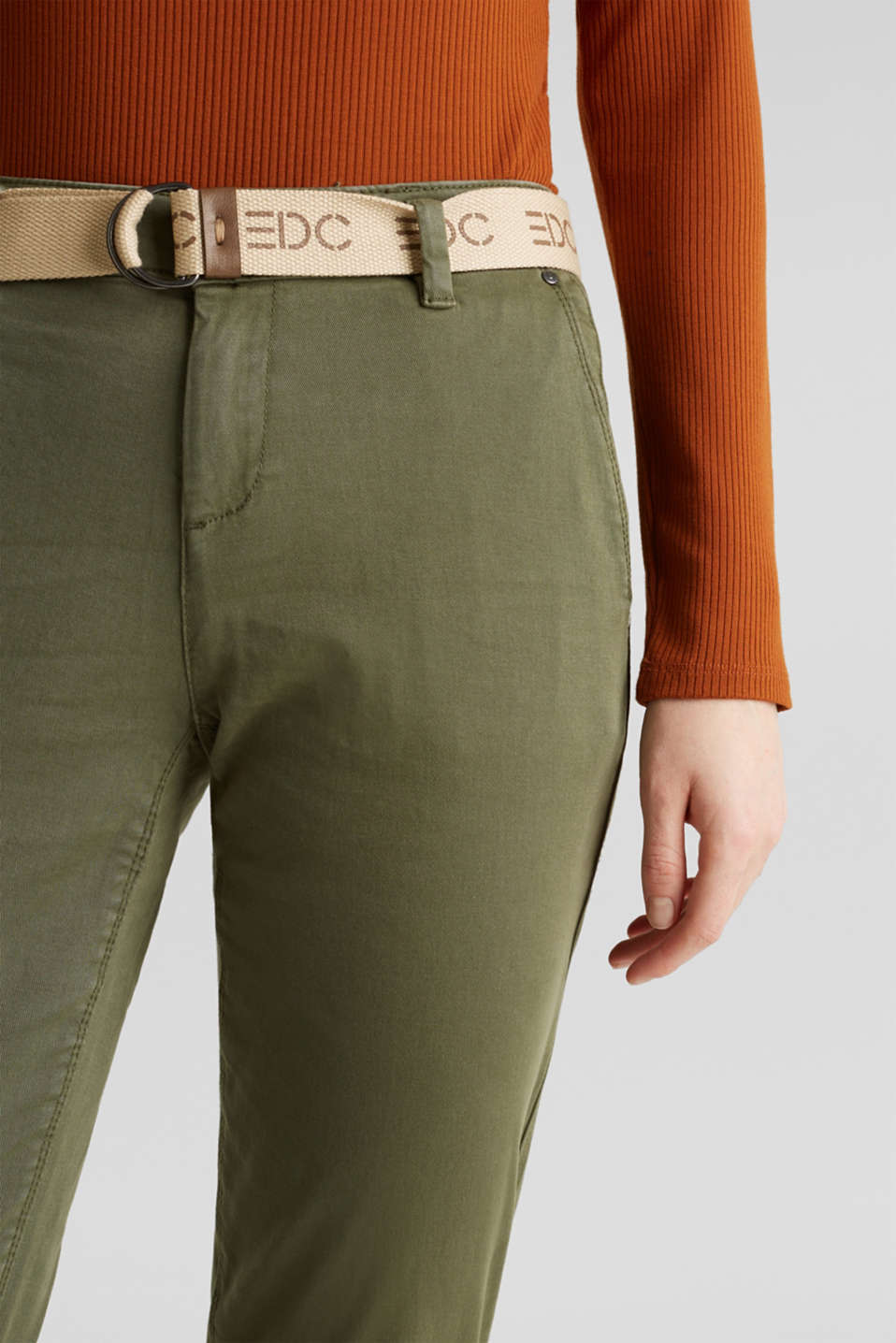 Stretch chinos made of twill with a woven belt, KHAKI GREEN, detail image number 2