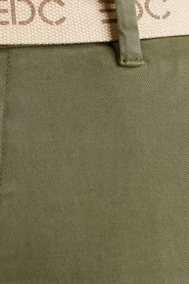 Stretch chinos made of twill with a woven belt, KHAKI GREEN, detail