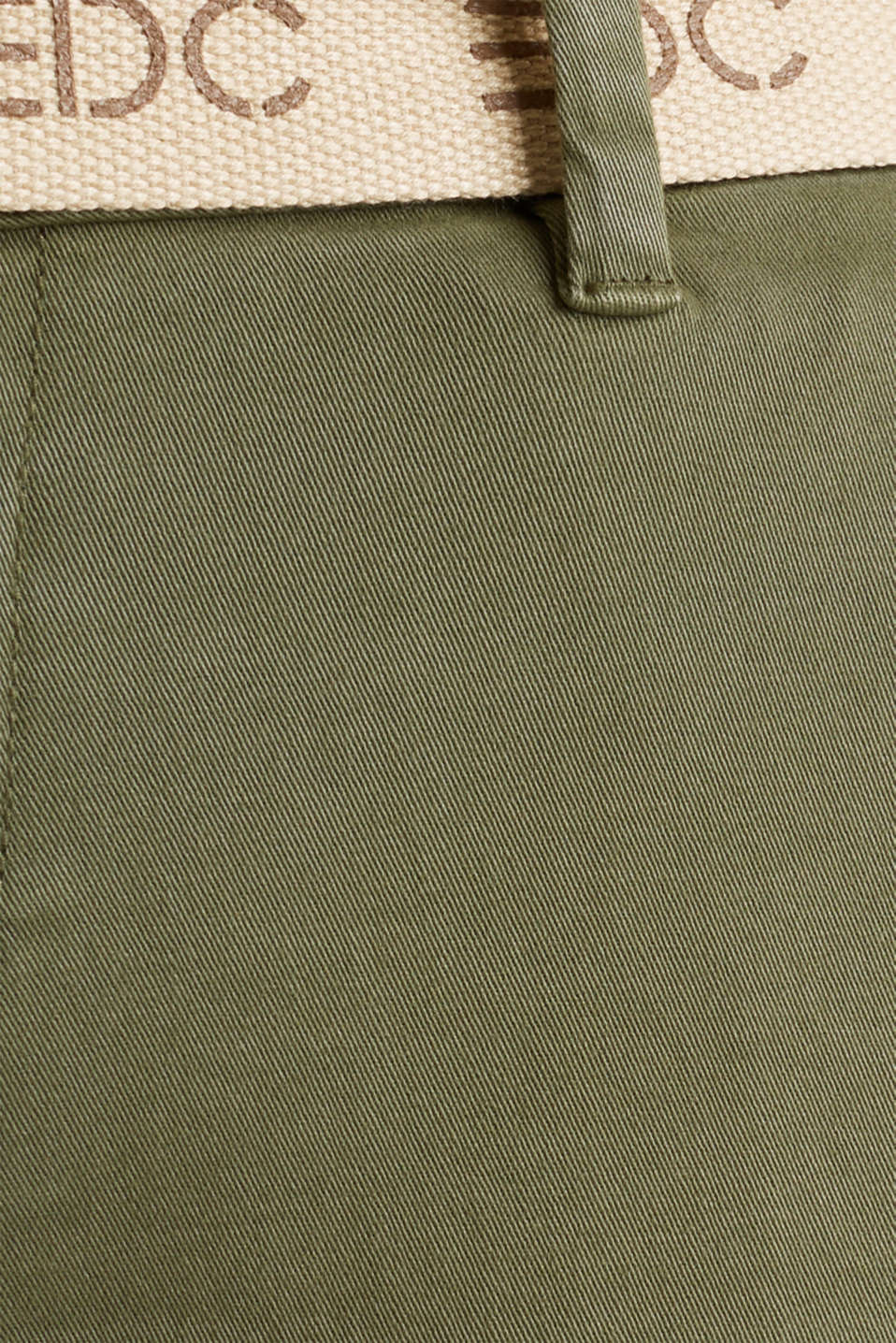 Stretch chinos made of twill with a woven belt, KHAKI GREEN, detail image number 4