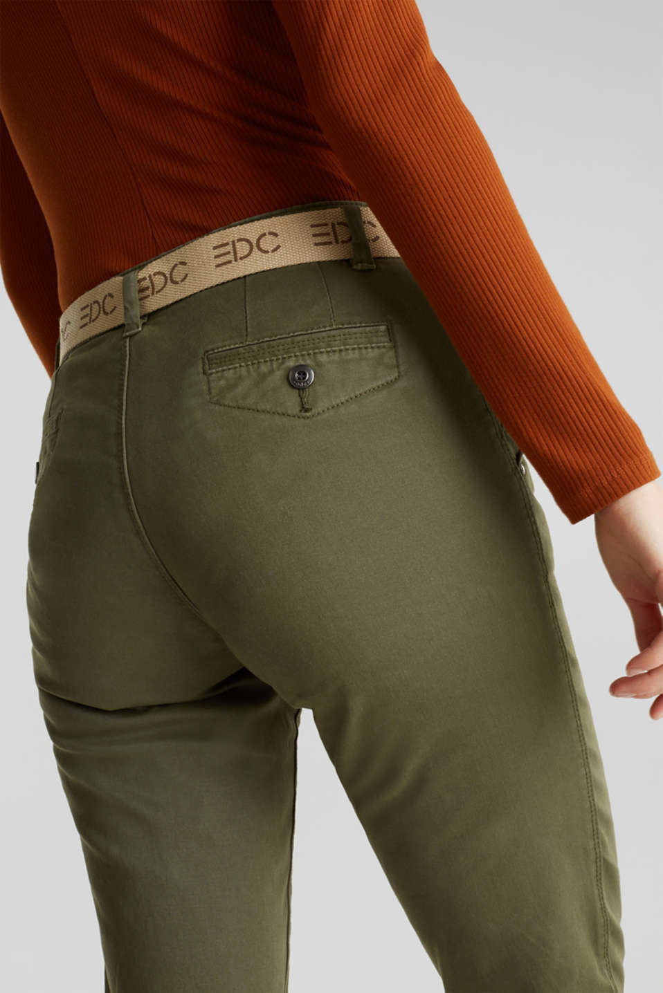 Stretch chinos made of twill with a woven belt, KHAKI GREEN, detail image number 5