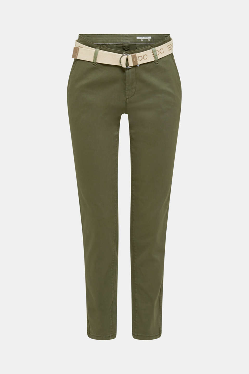 Stretch chinos made of twill with a woven belt, KHAKI GREEN, detail image number 7