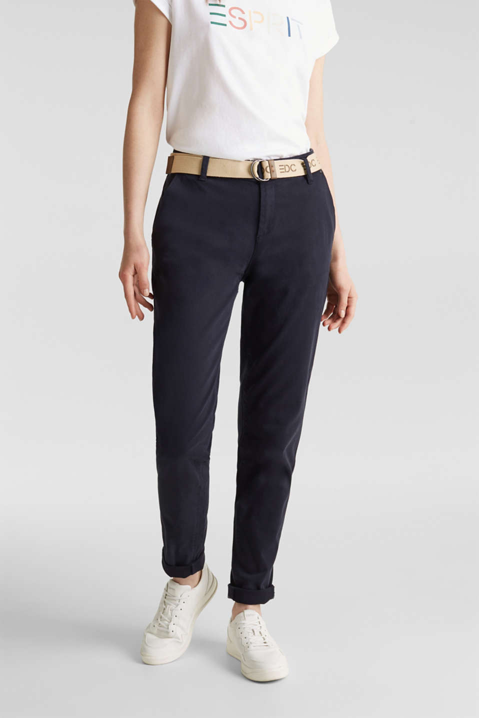 Stretch chinos made of twill with a woven belt, NAVY, detail image number 0
