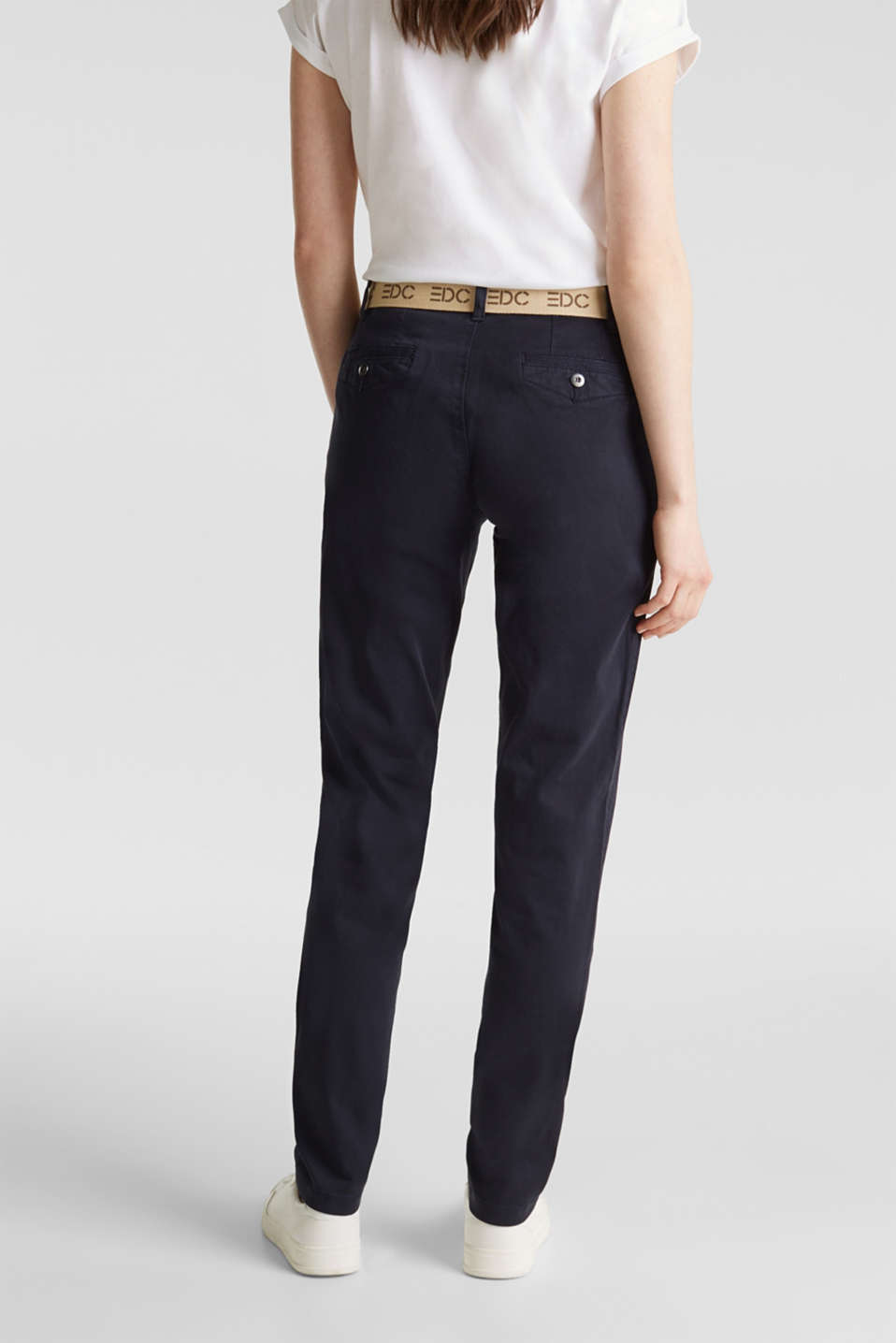 Stretch chinos made of twill with a woven belt, NAVY, detail image number 2