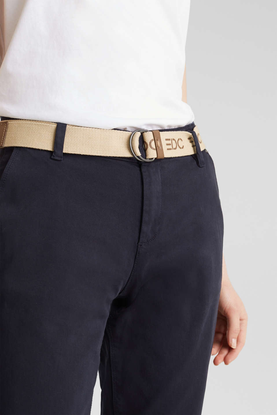 Stretch chinos made of twill with a woven belt, NAVY, detail image number 1