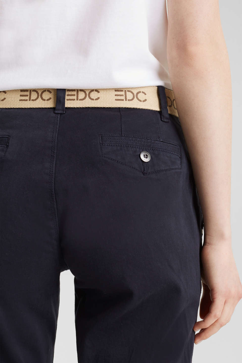 Stretch chinos made of twill with a woven belt, NAVY, detail image number 4