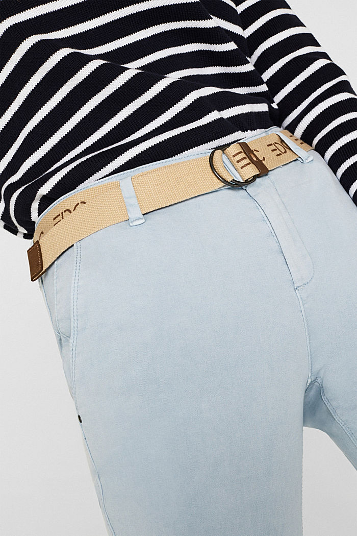 Stretch chinos made of twill with a woven belt, PASTEL BLUE, detail image number 2