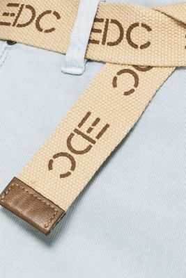 Stretch chinos made of twill with a woven belt, PASTEL BLUE, detail