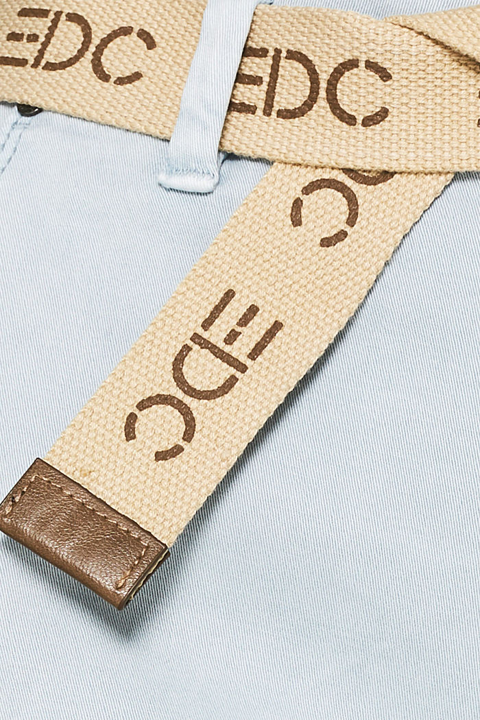 Stretch chinos made of twill with a woven belt, PASTEL BLUE, detail image number 4